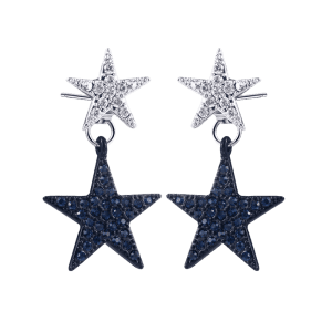 Rhinestone Doubled Star Front Back Earrings - BLACK + SILVER