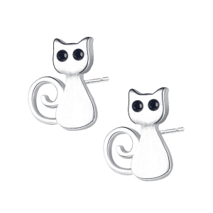 Sterling Silver Cute Kitten Stud Earrings - Argent