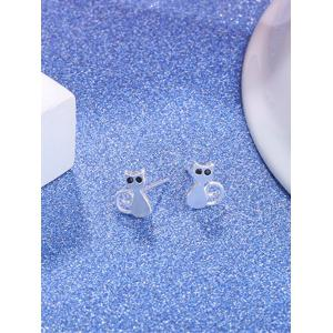 Sterling Silver Cute Kitten Stud Earrings -