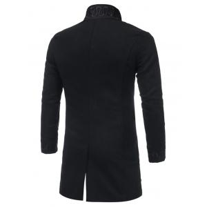 Single Breasted Embroidered Longline Woolen Coat - BLACK XL