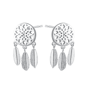 Dream Catcher Feather Sterling Silver Earrings -