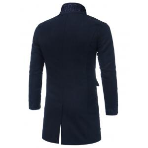 Single Breasted Embroidered Longline Woolen Coat - CADETBLUE 2XL