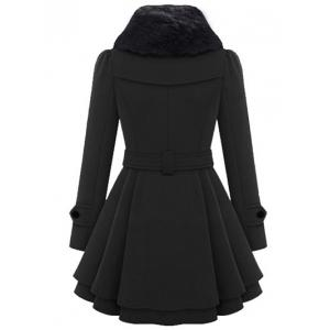 Skirted A Line Coat with Belt - BLACK XL