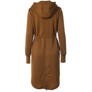 Hooded Drawstring Zip Up Coat - KHAKI 2XL