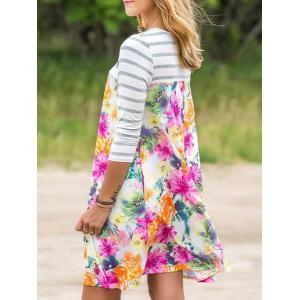 Stripe Sleeve Floral Dress with Pocket - Multicolore XL