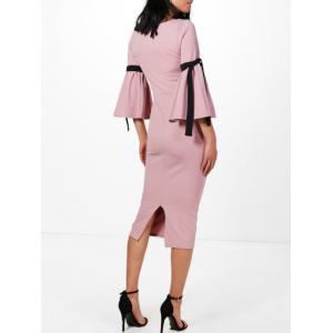 Rope Insert Flare Sleeve Pencil Dress - ROSE PÂLE S
