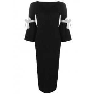 Rope Insert Flare Sleeve Pencil Dress - Noir S