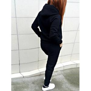 Hooded Front Pocket Sweat Suit - BLACK S