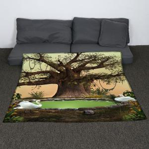 Life Tree Swans Lake Print Coral Fleece Blanket - GREEN W59 INCH * L79 INCH