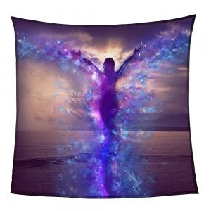 Dancing Butterfly Girl Print Coral Fleece Blanket - COLORFUL W47INCH*L59INCH