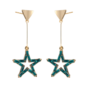 Faux Crystal Triangle Star Drop Earrings -