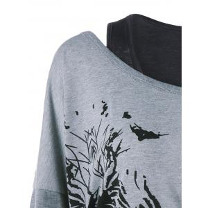 Ink Painting Plus Size Sweatshirt with Tank Top - Gris 3XL