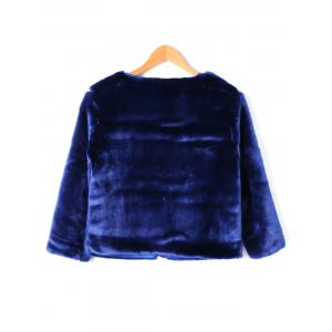 Open Front Faux Fur Short Coat - DEEP BLUE L