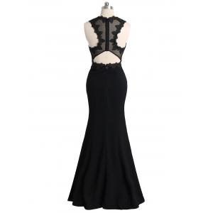Mesh Panel Floral Lace Maxi Formal Evening Dress -