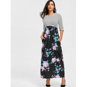 Floral Print and Striped Maxi Dress - BLACK M