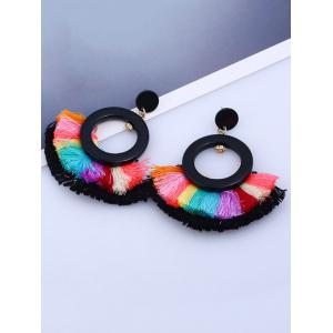 Vintage Circle Sector Multicolor Tassel Earrings -