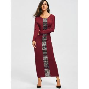 Long Sleeve Tribal Print Maxi Tee Dress -