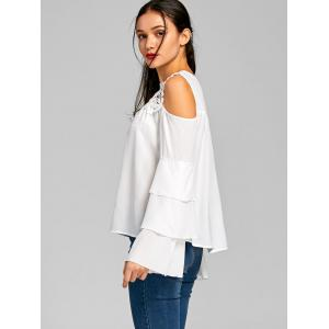 Cold Shoulder Sheer Layered Flare Sleeve Blouse - WHITE S