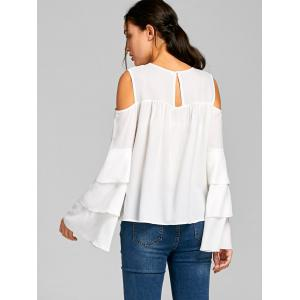 Cold Shoulder Sheer Layered Flare Sleeve Blouse - WHITE M