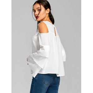 Cold Shoulder Sheer Layered Flare Sleeve Blouse - WHITE XL