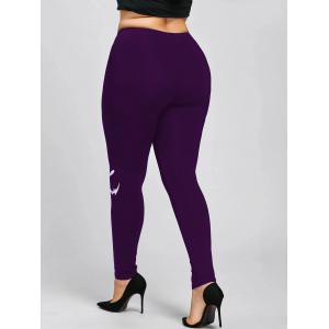 Halloween Plus Size Graphic Leggings - PURPLE 5XL
