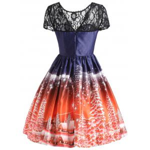 Arbre de Noël Vintage Lace Panel Dress - Tangerine L