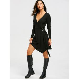 Long Sleeve Ribbed Sweater Wrap Dress -