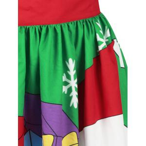 Christmas Santa Claus Snowflake Printed Skirt - COLORMIX XL