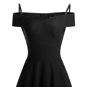 Vintage épaule froide Pin Up robe patineuse - Noir L