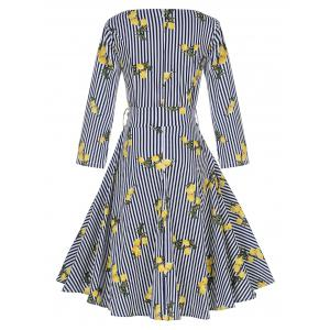 Vintage rayé imprimé citron Pin Up Skater Dress - Rayure 2XL