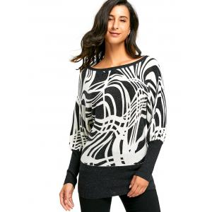 Ribbed Graphic Long Sleeve Sweater - WHITE AND BLACK M