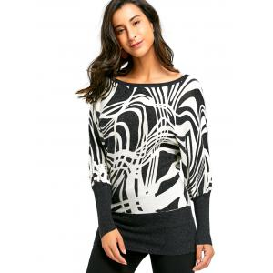 Ribbed Graphic Long Sleeve Sweater -