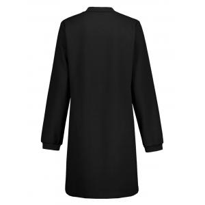 Slim Fit Zip Up Long Coat - BLACK S