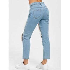 Faux Fur Print Ninth High Waist Jeans - Denim Bleu S