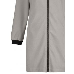 Slim Fit Zip Up Long Coat - Gris XL