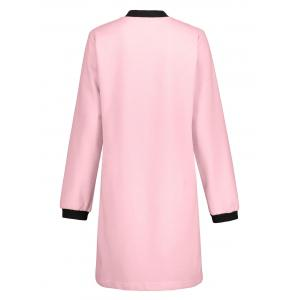 Slim Fit Zip Up Long Coat - ROSE PÂLE L