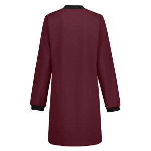 Slim Fit Zip Up Long Coat - WINE RED M