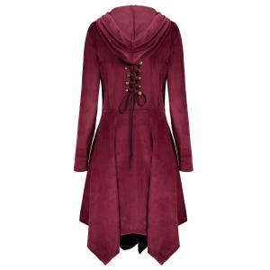 Velvet Asymmetric Plus Size Button Up Hooded Coat - WINE RED XL