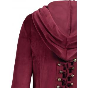 Velvet Asymmetric Plus Size Button Up Hooded Coat - WINE RED 5XL