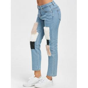 Faux Fur Print Ninth High Waist Jeans -