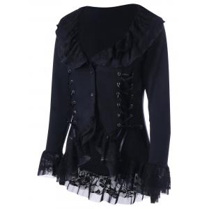 Lace Trim Lace Up Gothic Coat -