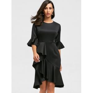 Flare Long Sleeve Ruffles Sheath Dress -