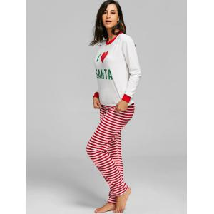 Christmas Striped SANTA Print PJ Set -
