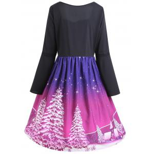 Christmas Tree Print Plus Size Lace Up Dress -