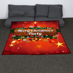 Colored Christmas Candle Pattern Coral Fleece Sofa Blanket -