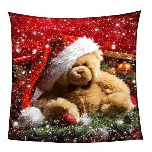 Coral Fleece Christmas Bear Pattern Blanket -