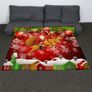 Santa Claus and Baubles Pattern Coral Fleece Sofa Blanket -