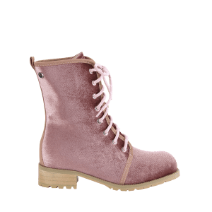 Lace Up Rivets Low Heel Boots -