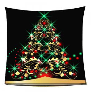 Colorful Christmas Tree Pattern Coral Fleece Sofa Blanket -