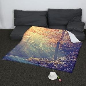 Coral Fleece Maple Pattern Blanket -